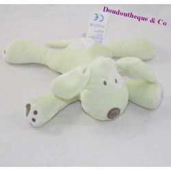 Doudou chien OBAIBI vert blanc 18 cm