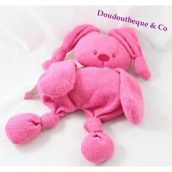 Semi-flat blankie rabbit nattou pink rag doll knots 30 cm