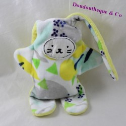 Double-sided blankie rabbit CATIMINI yellow white green reversible 35 cm