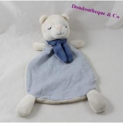 Doudou plat ours H&M blanc rayures bleues écharpe 27 cm