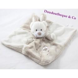 Doudou plat ours SIMBA TOYS déguisé en lapin blanc beige cage 23 cm