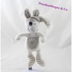 Doudou rabbit Pat A l'oeil white beige polka dots spiral 24 cm