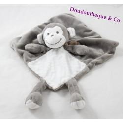 Flat blankie monkey NICOTOY white grey Rhombus 34 cm