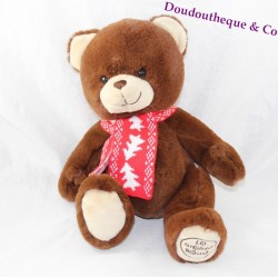 Teddy bear LA GRANDE RECRE chocolate scarf red 27 cm