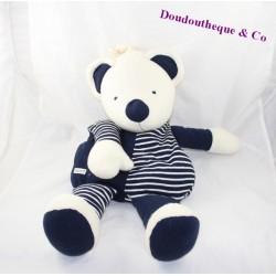 Peluche range pyjama ours BABYSUN bleu blanc rayures 53 cm