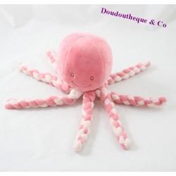 Doudou pieuvre NATTOU rose blanc velours 23 cm