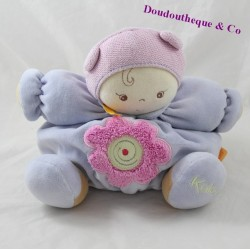 Doudou poupon KALOO Chubby Baby mauve fleur rose 23 cm