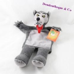 Doudou marionnette loup AU SYCOMORE gris 35 cm