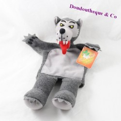 Doudou wolf puppet IN SYCOMORE gray 35 cm