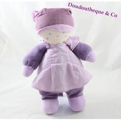 Doudou rag doll TARTINE AND CHOCOLAT mauve plush girl 27 cm