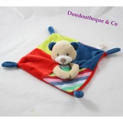 Doudou plat ours NICOTOY Woodstock rouge bleu rayures en laine 21 cm