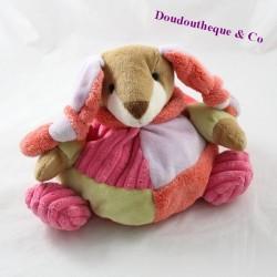 Doudou boule lapin MAXITA rose et vert 20 cm