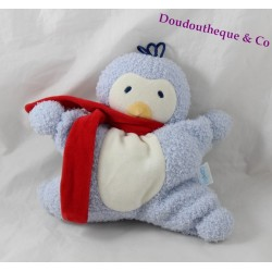 Doudou semi flat penguin COROLLE blue bell red scarf 20 cm