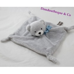 Doudou flat bear gray blue scarf striped blue 22 cm