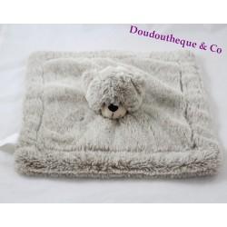 Doudou plat ours HAN gris chiné poils longs 27 cm