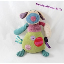 Doudou dog MOULIN ROTY the pretty not beautiful plum green 22 cm
