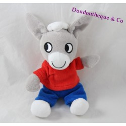 Plush donkey Trotro GALLIMARD youth red shorts t-shirt blue 23 cm