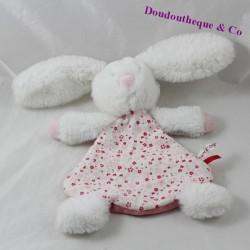Doudou plat lapin SUCRE D'ORGE blanc corps tissu fleurs 25 cm