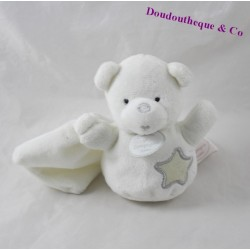 Mini doudou bear DOUDOU AND COMPAGNY luminescent white star DC2323 13 cm