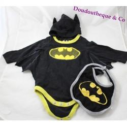 Ensemble body et bavoir Batman DC COMICS bébé 0-3 mois noir jaune
