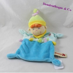 Doudou flat elf NICOTOY boy blue yellow tree 27 cm