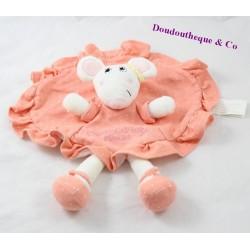 Doudou flat mouse LA HALLE round brioche pink peas 28 cm