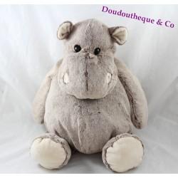 Peluche hippopotame MONOPRIX chiné marron blanc gris 44 cm
