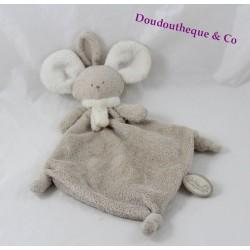 Mona mouse flat doudou DIMPEL ties white beige nipple 28 cm