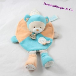 Doudou flat bear BABY NAT Capucin orange blue BN712 28 cm