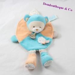 Doudou orso piatto BABY NAT CAPucin arancione blu BN712 28 cm