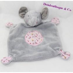 Doudou plat éléphant Gémo gris rose rond fleurs 26 cm