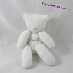 Doudou ours pantin NICOTOY Minisu First blanc gris 20 cm