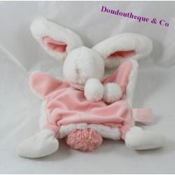 Doudou plat lapin DOUDOU ET COMPAGNIE Pompon rose blanc DC2741 24 cm