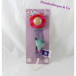 Mouse teat tie MOULIN ROTY The Jolis Pas Beaux violet green