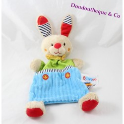 Doudou plat lapin OUATOO LOGITOYS bleu vert rectangle 30 cm
