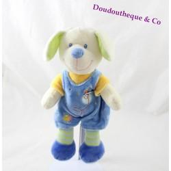 Doudou dog MOTS D'ENFANTS overalls blue striped legs