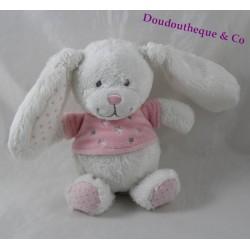 Mini doudou lapin TEX BABY blanc rose t-shirt étoiles 18 cm