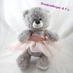 Bear towel MARIONNAUD Repetto pink grey tutu 38 cm