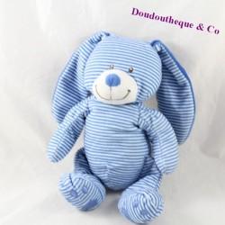 Peluche lapin SIMBA TOYS BENELUX bleu blanc rayures empreintes bleue 26 cm