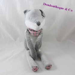 Peluche loup OBAIBI gris bandana carreaux 27 cm