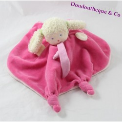 Doudou reversible doll Teddy bear hide yellow pink Elf girl
