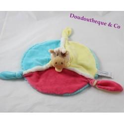 Doudou flat cow P'TIT BOUT yellow blue blue round pink 34 cm
