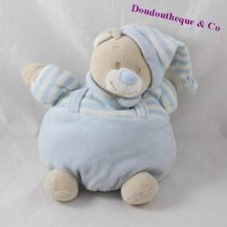 Doudou boule ours JOLLYBABY bleu beige rayures grelot 20 cm