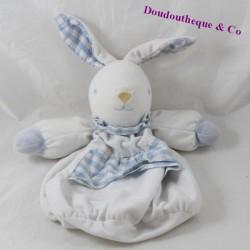Doudou lapin TARTINE ET CHOCOLAT carreau vichy blanc bleu poche 28 cm