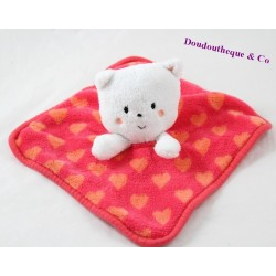 Doudou plat chat ORCHESTRA Prémaman rouge coeur orange 23 cm