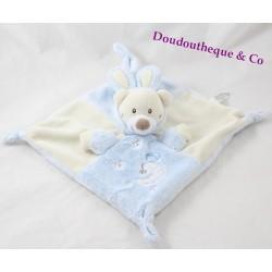 Doudou plat ours AUCHAN déguisé en lapin beige bleu lune oiseau 24 cm