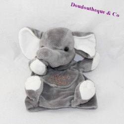Doudou elephant puppet HISTORY OF OURS grey pocket 23 cm