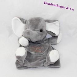 Doudou marionnette éléphant HISTOIRE D'OURS poche gris 23 cm