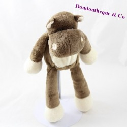 Doudou hippopotame NICOTOY marron beige 26 cm assis