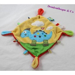 Doudou flat dinosaur NICOTOY dragon yellow blue cloud labels 20 cm